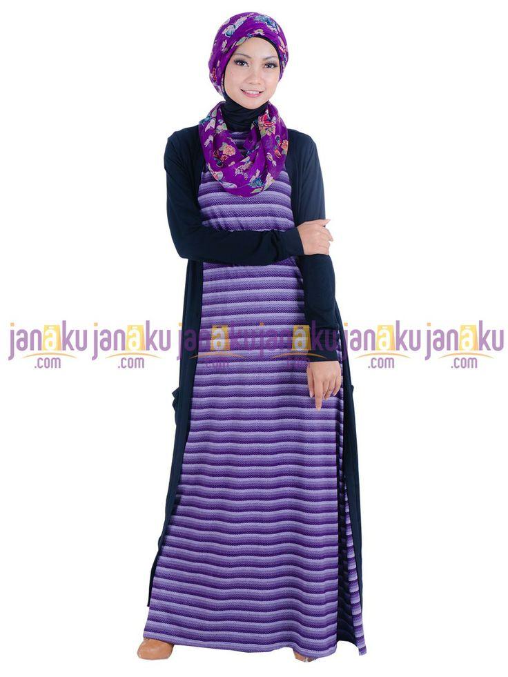 Vannara 1113324 - Busana muslim gamis tanpa lengan motif garis dengan bahan kaos yang nyaman di pakai