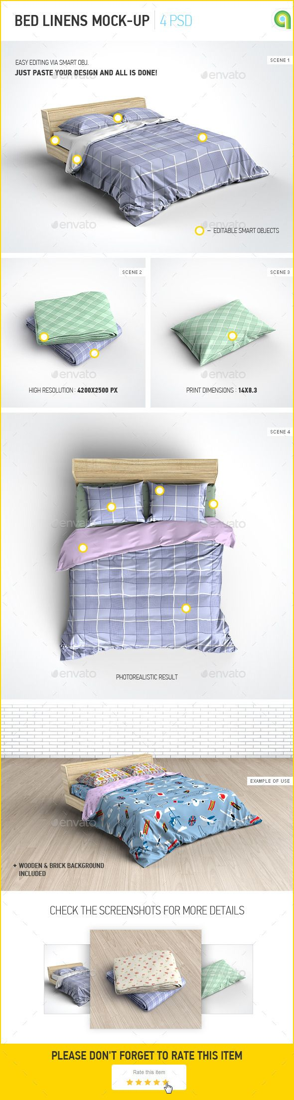 Bed Linens Mock-Up / Bedding Set Template | Buy and Download: http://graphicriver.net/item/bed-linens-mockup-bedding-set-template/9774753?ref=ksioks