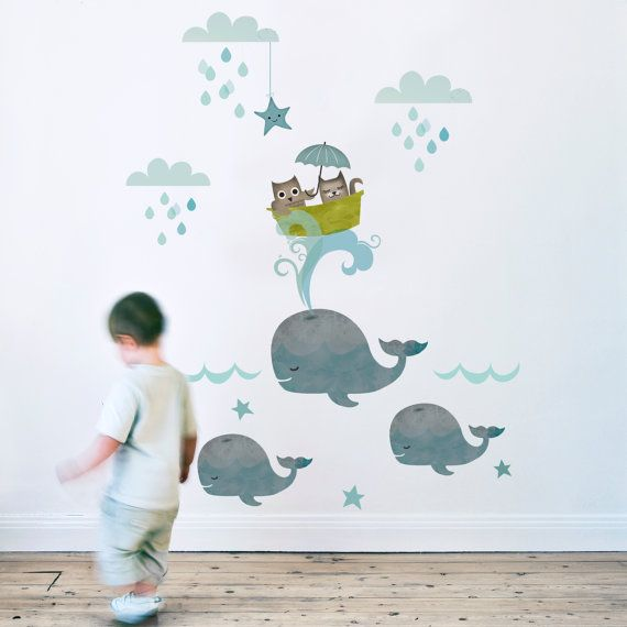 Childrens Wall Sticker  Owl & Pussycat LARGE fabric by KokoKids, £62.00