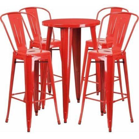 Flash Furniture 24 Inch Round Metal Indoor Outdoor Bar Table Set With 4  Cafe Barstools