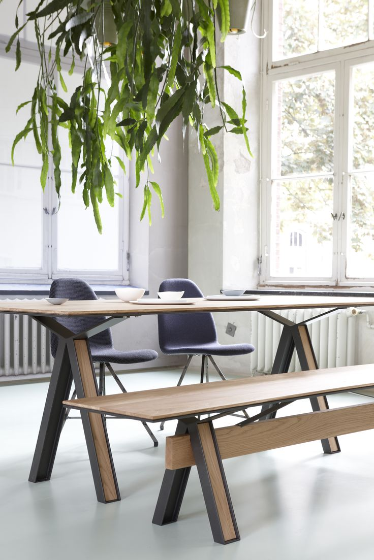 Blakeley Table 003 By Roderick Vos, Steel Profile And Oak Wood