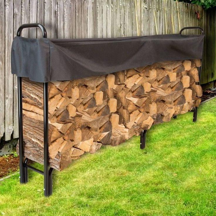 Log Rack With Cover Outdoor Firewood Storage 8 Ft Fire Wood Holder Protection #PerfectHomeSavings #Country