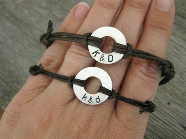 His and Hers matching stamped bracelets Small by InformalElegance, $39.00