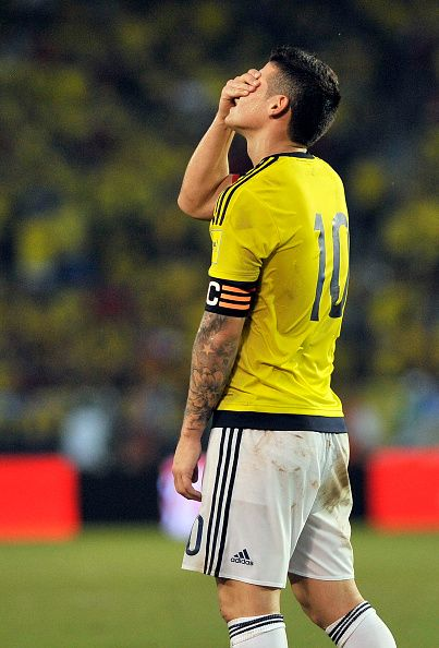 James Rodriguez of Colombia reacts during a match between Colombia and Argentina as part of FIFA 2018 World Cup Qualifiers at Metropolitano Stadium...
