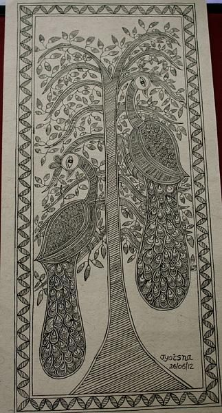 Indian Painting Styles...Madhubani/Mithila  Painting (Bihar)-peacocks.jpg