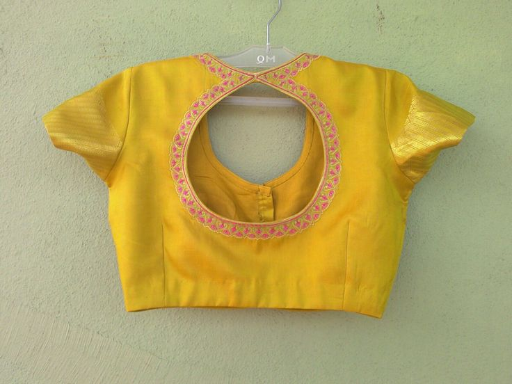 Silk blouse nicely designed round shape and embroidered