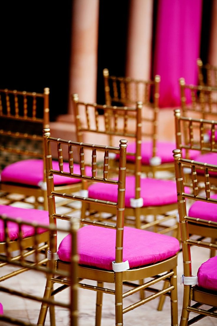 Hot Pink And Gold Chairs