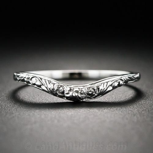 Vintage Style Floral Design Contoured Wedding Band - 110-1-6023 - Lang Antiques