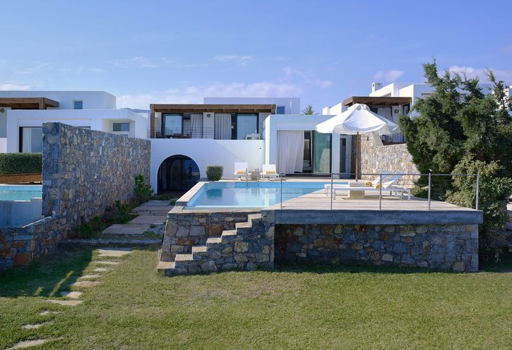 Thalassa Villas at St Nicolas Bay Crete Sleep from 5 - 7. Set atop seafront slopes on beautiful Mirabello Bay, this is an exclusive little enclave of luxury villas on Crete, enjoying the fine facilities of adjacent sister-hotel St Nicolas Bay Resort.