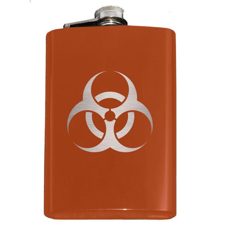 Engraved 8Oz Biohazard Flask, 9 Colors, Biological Hazard Zombie Virus Fallout