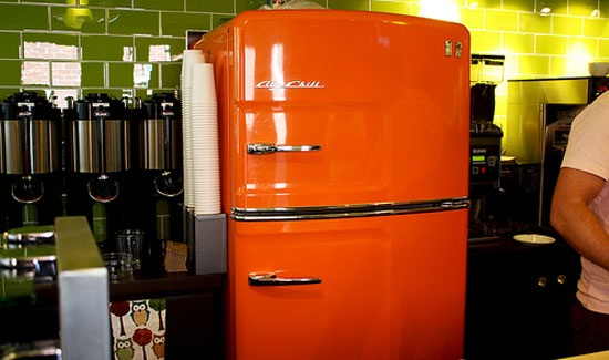 An orange big chill retro refrigerator really stands out - Orange kitchen appliances ...