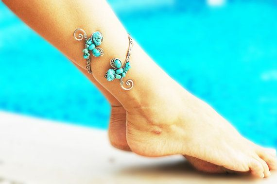 Mystic Turquoise Anklet, Adjustable ankle bracelet, Arm Cuff Bracelet, Upper arm band, Wire Wrapped anklet, summer jewelry