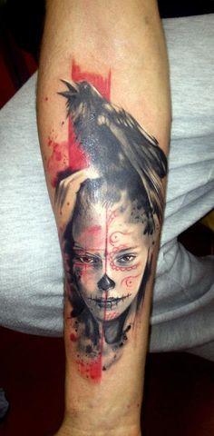 Adam Kremer ... #tattoo #abstract #art #artistic #ink #splash #inksplash #watercolor #aquarelle #sketch #sketchart #scrap #trash #polka #trashpolka #photoshop #adam #kremer #adamkremer #czech #tribo #black #red #face #crow #raven #girl #sugar #skull #dios #muertas #arm #sleeve #tribotattoo