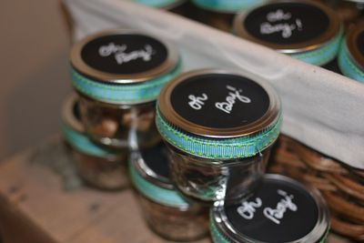 Favors - made out of baby food jars? with ribbon hot glued around lid & caterpillar cut out on top?