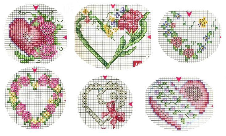вышивка крестом, сердце, сердечко, миниатюры, схема вышивки
