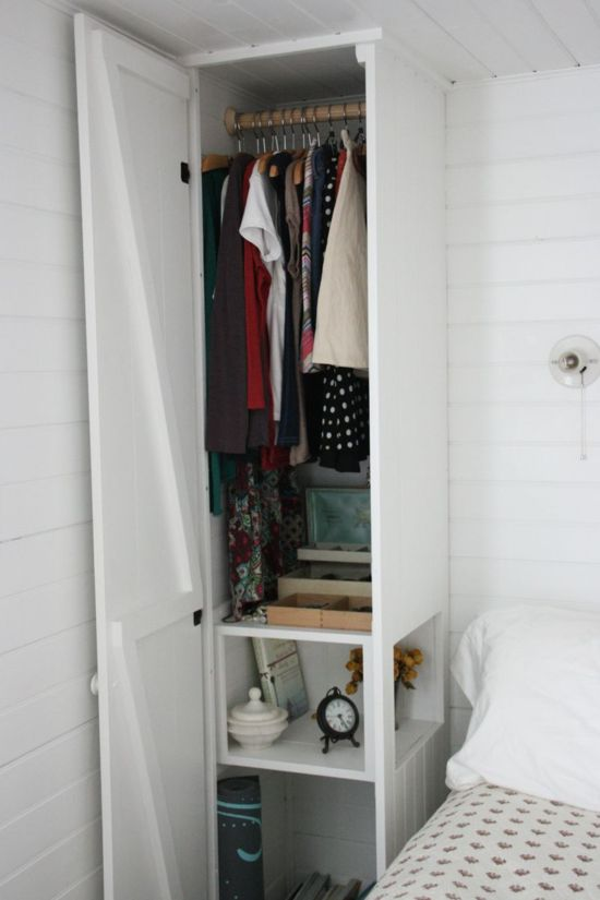 Great design - closet and nightstand in one - very efficient Love it!