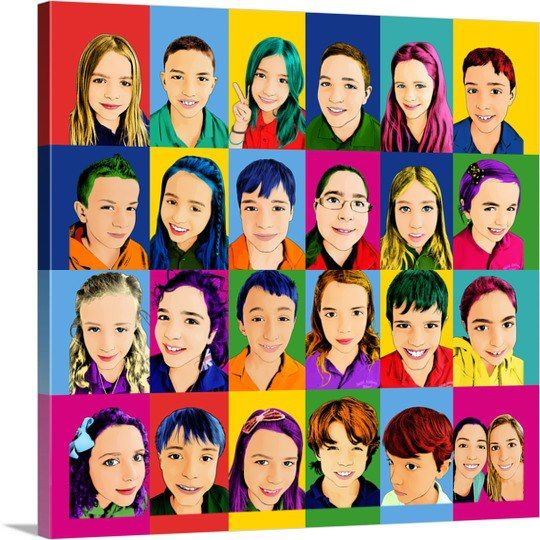 A new take on the classroom photo! We took this class of 24 students and used 24 different individual photos and created them in a Pop Art style. Get one for your student or class here: http://www.paintyourlife.com/photo-to-pop-art/
