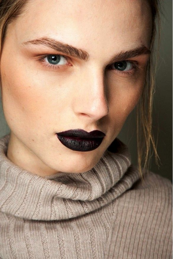 Bold Brows And Black Lipstick At Giles F/W 2015 via @WhoWhatWear