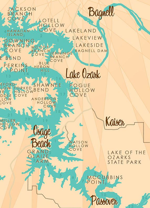 Lake of the Ozarks MO Map Print with mile markers by LakeboundShop