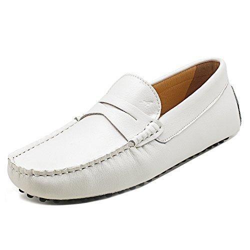 Oferta: 129€ Dto: -61%. Comprar Ofertas de Shenduo Zapatos Casuales - Mocasines de cuero suave sin cordones cómodos para hombre D7152 Blanco 44 barato. ¡Mira las ofertas!