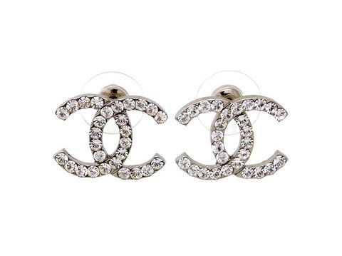 chanel logo earrings. vintage chanel stud earrings cc logo rhinestone r