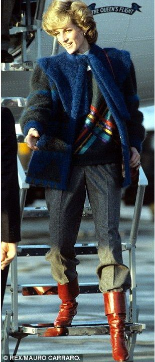 January 8, 1984:  Princess Diana steps off the aircraft from London Heathrow at Zurich Airport