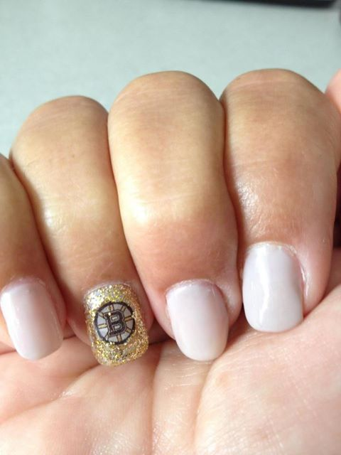 Bruin glitter nails by Alyssa at Radura Salon and Spa in Manchester, NH. Call 603-792-8411 for booking!