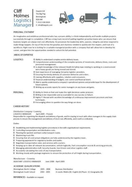 logistics manager cv template  example  job description  supply chain manager  delivery of goods