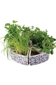 6 részbõl álló virágcserép kék-fehér virágmintával. A cserepek összerakhatóak, a cikkelyek egy kör formát adnak ki. Dekoratív része lehet a konyhájának fûszernövényekkel tele ültetve.Mérete egy cserépnek: magasság: 9 cm, szélesség: 19 cm, mélység: 17 cmA teljes átmérõ: 39 cmSúlya: 8,56 kg