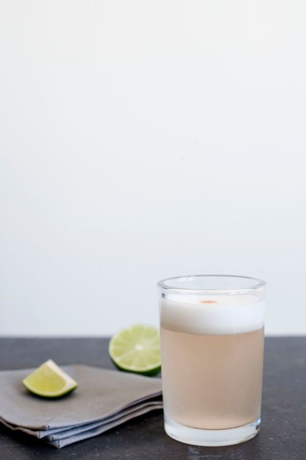 Rhubarb Pisco Sour - Pisco, Lime Juice, Rhubarb Simple Syrup (Recipe), Egg White, Angostura Bitters.