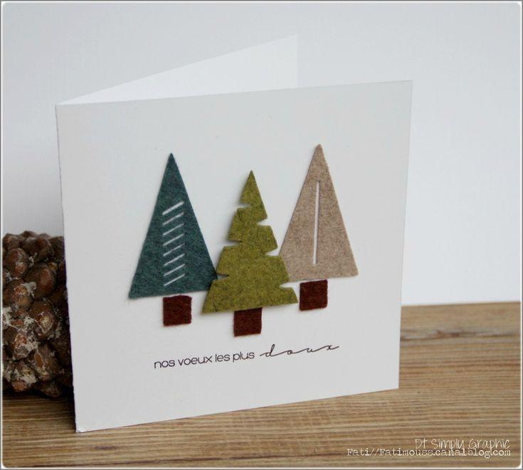 Felt Christmas Trees Greeting Card