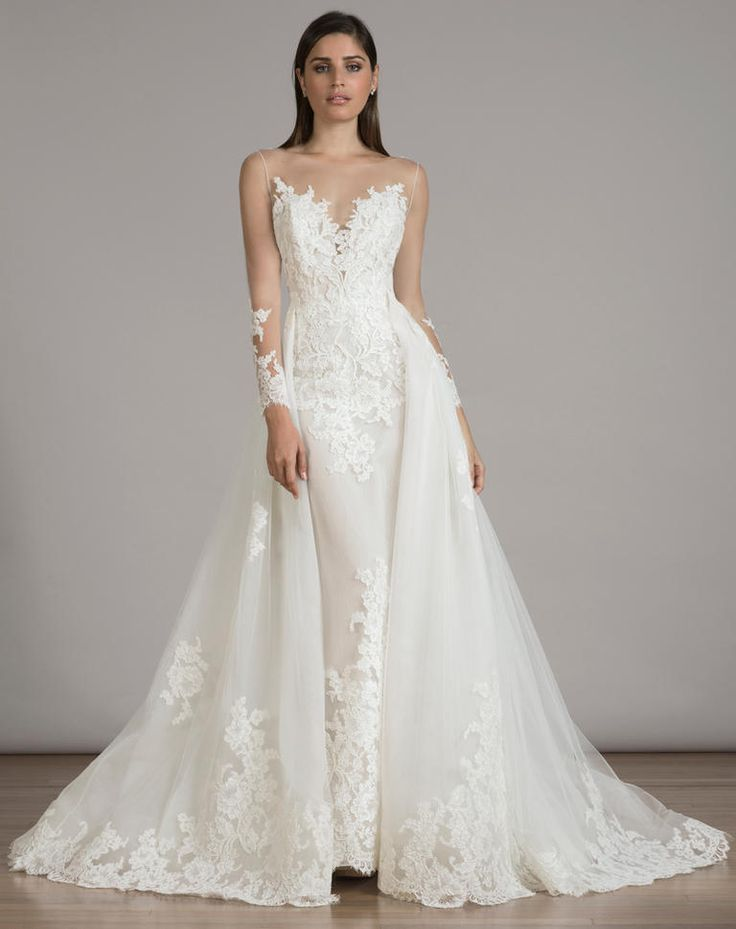 LIANCARLO lace wedding dress with lace overskirt, illusion sweetheart neckline and long illusion sleeves from Fall 2016