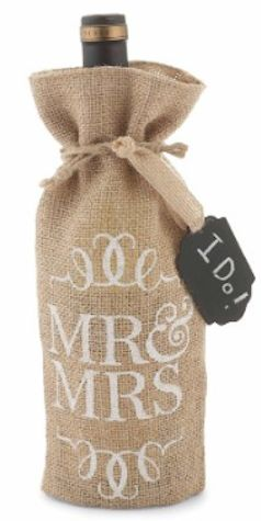 Dress up the wine with these burlap bags