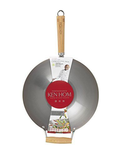 "KEN HOM Carbon Steel Wok - Asian Stir Fry Pan with Helper Handle - 12.25"", Silver"