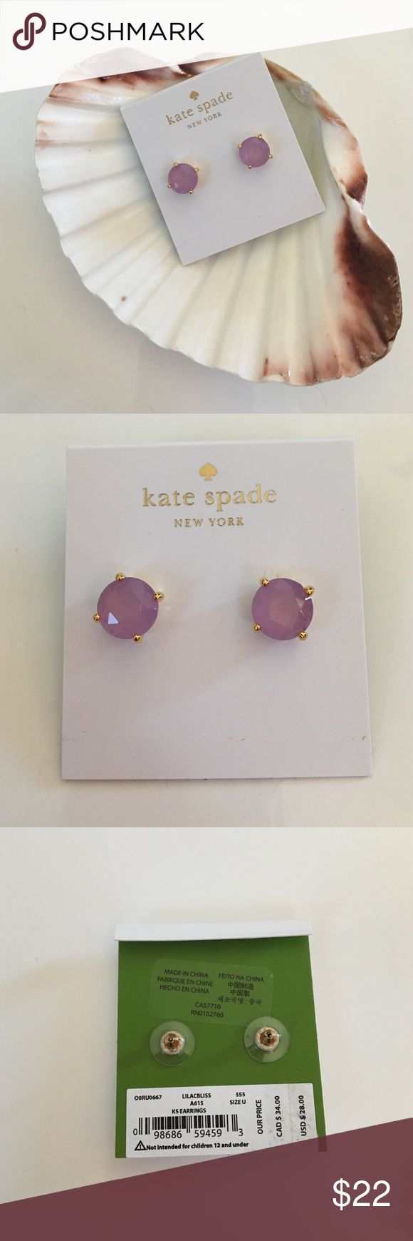 { Kate Spade } stud earrings SALE PRICE FIRM Kate Spade Stud Earrings in LILACBLISS and gold colors. Super cute and a great wardrobe addition. kate spade Jewelry Earrings