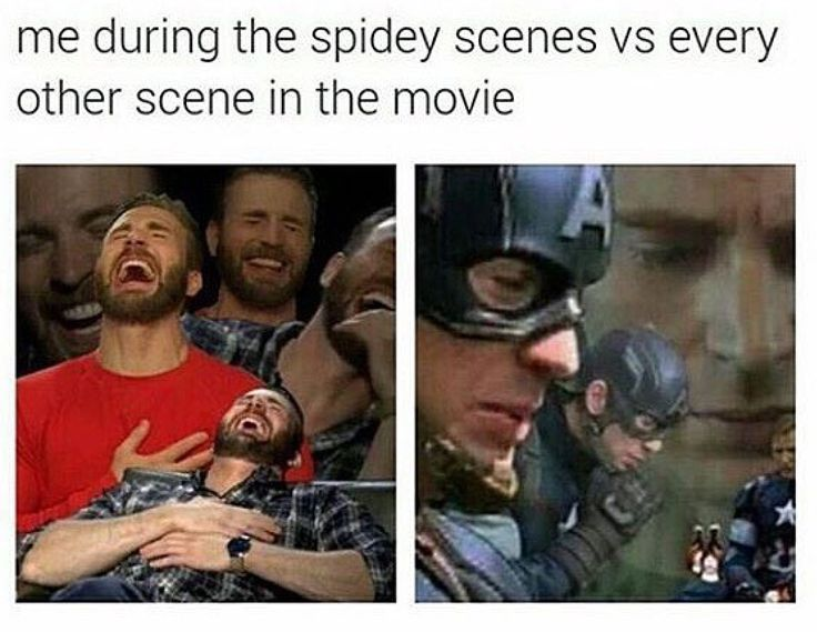 During the Spider-Man scenes vs every other scene in CA:CW