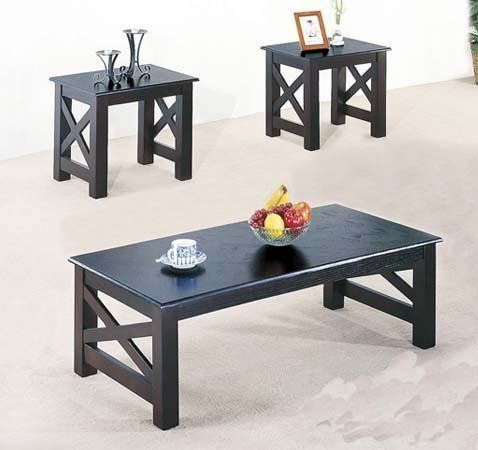 3 Pc Wood X Style Casual Coffee Table And 2 End Table By Acme Furniture Wood X Style