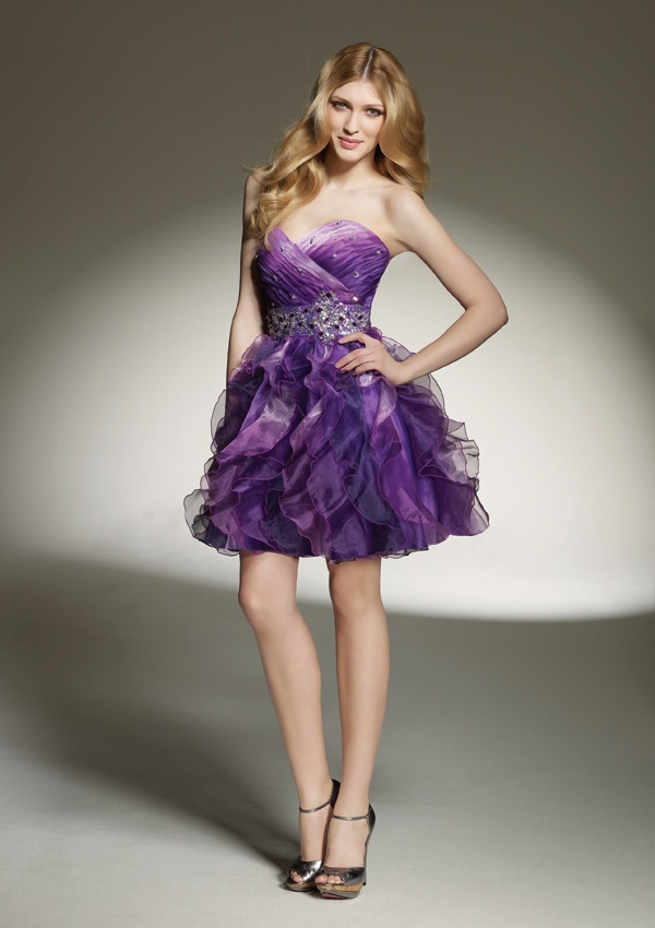ombre organzaColors Options, Purple Ombre, Shorts Strapless, Cocktails Dresses, Strapless Sweetheart, Ombre Pleated, Ombre Homecoming Dresses, Prom Dresses, Sweetheart Neckline