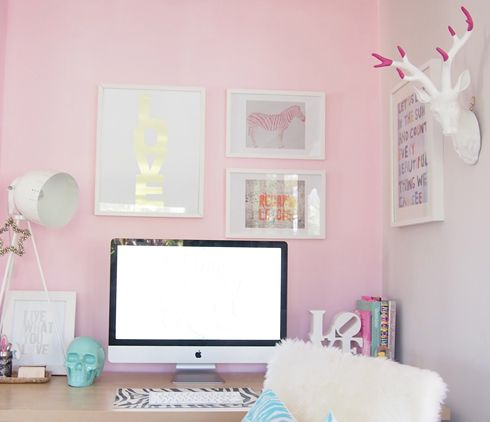 pink  white office, love the fuchsia tipped antlers