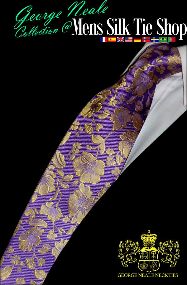 purple and gold floral tie for men. A beautiful floral tie at a great discounted price. We try to retain a classic english design with this luxury floral tie in purple and gold .