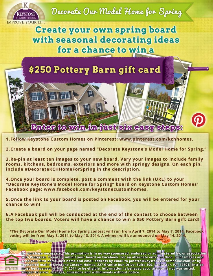 "Help us decorate our model home for spring! Create your own ""Decorate Keystone's Model Home for Spring"" board with pins tagged #DecorateKCHHomeforSpring in the description for a chance to win a $250 Pottery Bard gift card! http://www.keystonecustomhome.com/blog/2014/04/decorate-keystone-custom-homes-model-for-spring/"