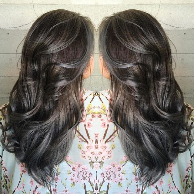 Long black hair with grey highlights the best black hair 2017 best 25 brown with grey highlights ideas on dark hair pmusecretfo Gallery