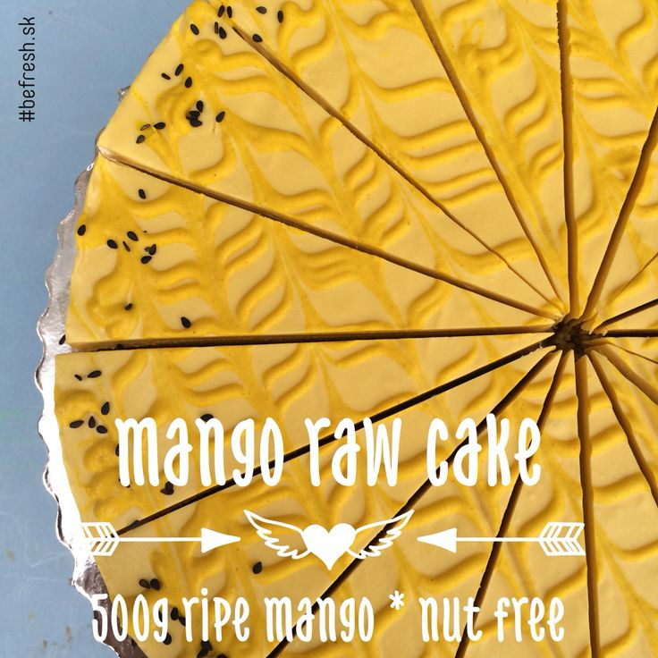 mamgo raw cake has no sweetener. it contains only coconut and dates for the crust and fresh mango, drued mango, virgin coconut oil and a bit od cacao butter. those black dots are black sesame.