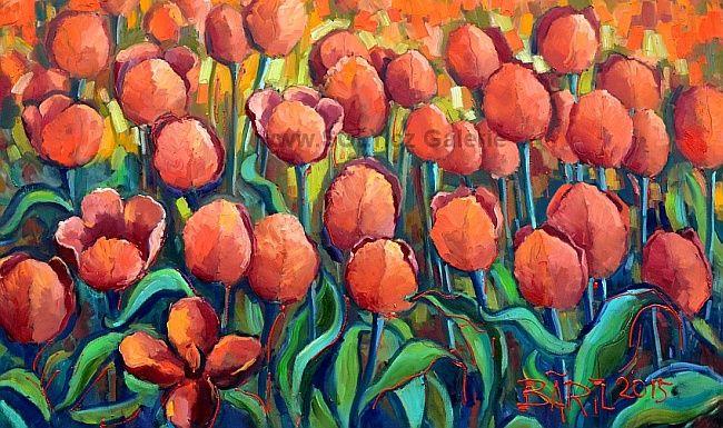 Ručně malované originální obrazy galerie SOLY.cz vlčí máky,květiny, louka