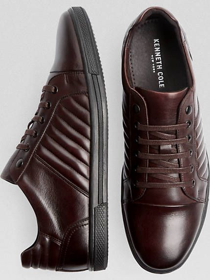 Kenneth Cole Snap-Down Black Leather Lace-Up Shoes - Men's Casual Shoes
