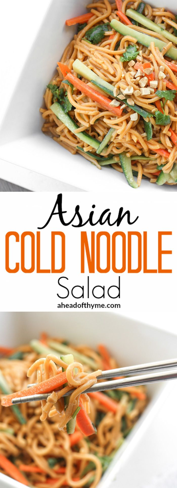 Asian Cold Noodle Salad: Nothing screams summer more than a crispy, crunchy, Asian cold noodle salad infused with a refreshing peanut, cilantro and lime dressing. | aheadofthyme.com via @aheadofthyme