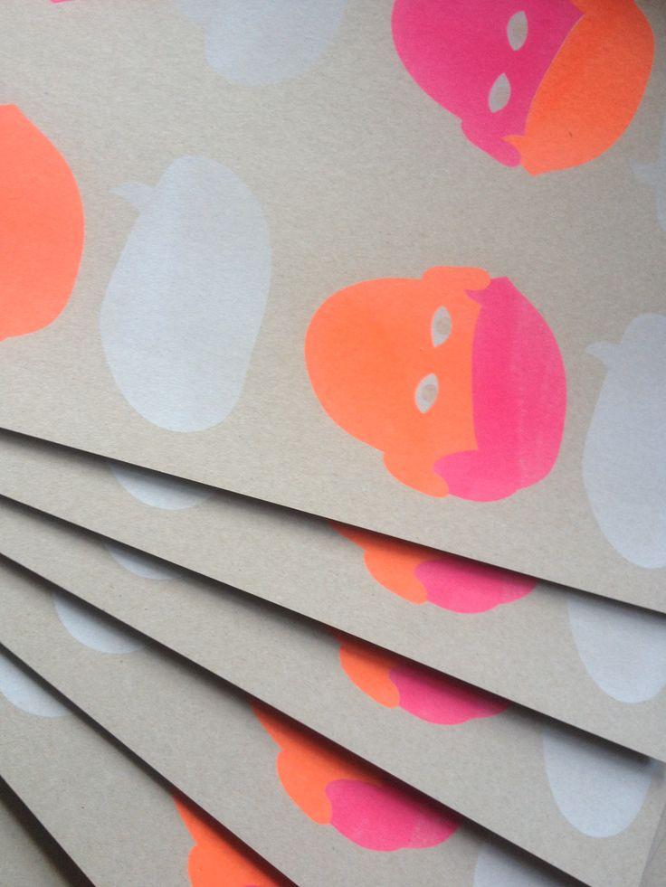 Risoprint, Risograph, Fluoriscent orange & Fluoriscent Pink & white ink - www.dekijm.nl