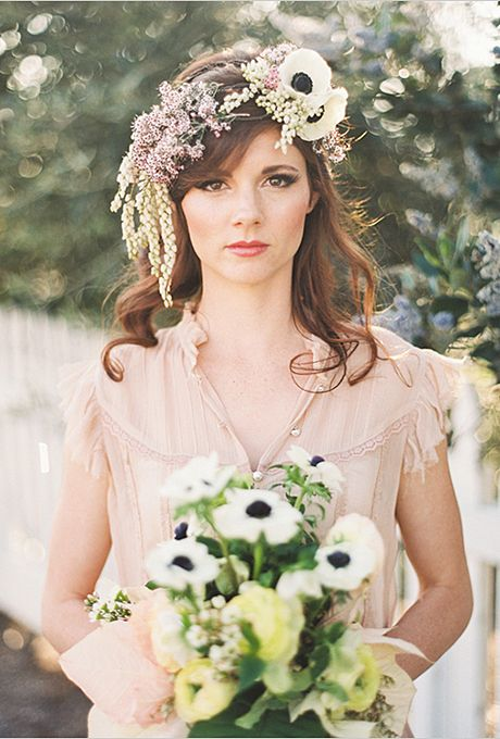 Brides: The Prettiest Wedding Hairstyles with Flower Crowns| A Whimsical Cascading Flower Crown with Anemones | Photo by Michelle Warren