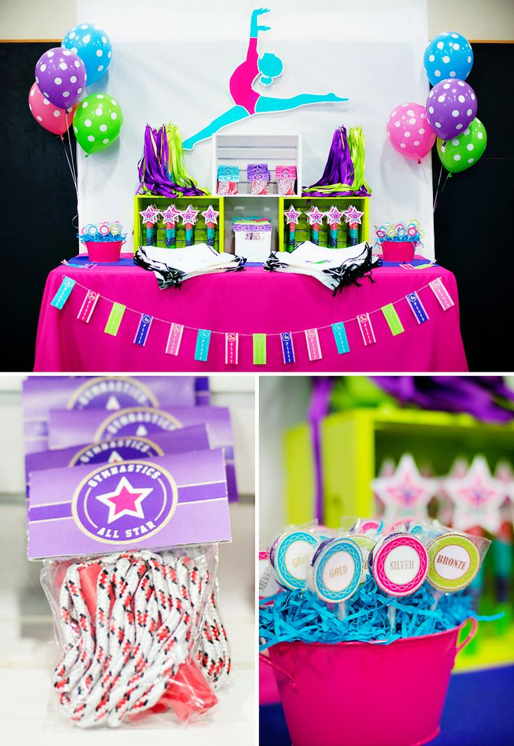 Bright & Coloful Gymnastics Birthday Party
