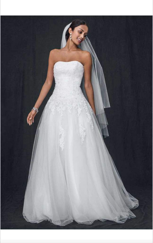 David S Bridal Strapless Tulle Size 10 New Wedding Dress Front View On Model